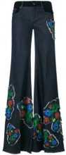 Sonia Rykiel - anemone detail wide-leg trousers - women - Cotton/Elastodiene - 34, 36, 38, 40, 42, 44 - BLUE