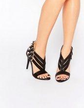 Glamorous - Sandali neri a spina di pesce con tacco e fibbie