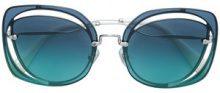 - Miu Miu Eyewear - Occhiali da sole squadrati oversized - women - Acetate - 64 - Blu