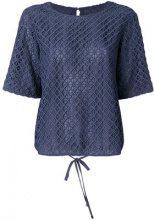 Emporio Armani - geometric lace blouse - women - Polyester - 38, 40, 42 - BLUE