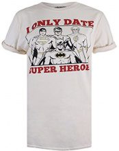 DC Comics Only Date Superheroes, T-Shirt Donna, Off-White (Natural), 38