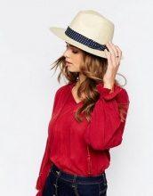Boardwalk - Classico cappello trilby in paglia con nastro a pois
