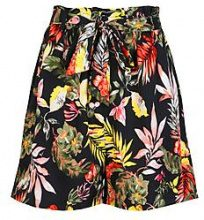 Tall Jade Tropical Print Paperbag Waist Shorts