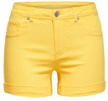 ONLY Solid Shorts Women Yellow