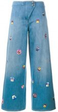 Christopher Kane - pansy embroidered culottes - women - Cotton - 25 - BLUE