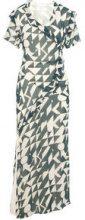 P O S T Y R Printed Chiffon Maxi Dress Women Grey