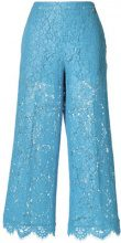 Twin-Set - Pantaloni in pizzo crop - women - Cotton/Polyamide/Polyester/Viscose - 40, 42, 44 - BLUE