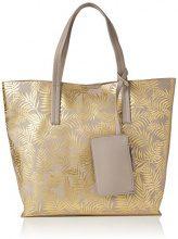 New Look Metalic Palm Print - Borse Tote Donna, Gold, 41x12x35 cm (W x H L)