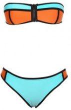 Bikini a fascia tricolore con cerniera lampo