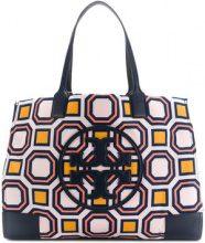 Tory Burch - Ella printed tote - women - Leather/Polyamide - OS - BLUE