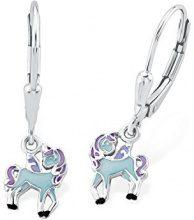 Principessa Lillifee bambini di orecchini fatti a mano Unicorno blu 925Argento Rodiato Smaltato–2013160