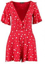Angie Star Print Ruffle Front Playsuit