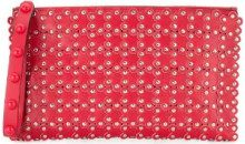 Red Valentino - studded floral clutch - women - Leather - One Size - RED