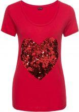 Maglia con cuore di paillettes (Rosso) - BODYFLIRT