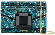 Elie Saab - embellished ribbed clutch bag - women - Calf Leather/PVC - OS - BLUE