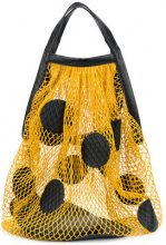 Maison Margiela - polka-dot net bag - women - Nylon/Lamb Skin - One Size - Giallo & arancio