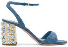 - Sebastian - Sandali con tacco decorato - women - Leather/Cotone - 40, 36, 39 - Blu