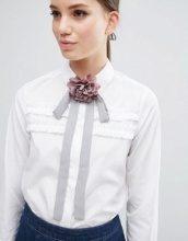 ASOS - Cravattino con fiore grigio e rosa
