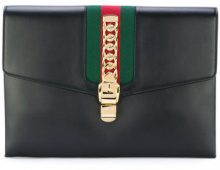 Gucci - Black Sylvie maxi leather clutch bag - women - Leather - One Size - Nero