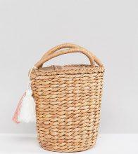 Glamorous - Borsa sferica in paglia con nappine - Beige