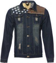 Giacca jeans con dettagli bandiera USA