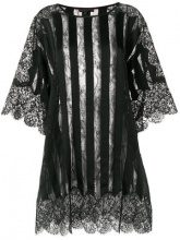 Amen - sheer striped and lace trimmed oversized top - women - Cotton/Spandex/Elastane/Acetate/Viscose - OS - BLACK
