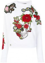 Philipp Plein - floral skull sweatshirt - women - Cotton/Spandex/Elastane - S, M - WHITE