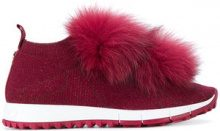 Jimmy Choo - Norway sneakers - women - Leather/Polyester/Fox Fur/rubber - 37, 38, 39, 40 - RED