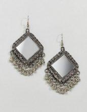 ASOS DESIGN - Orecchini pendenti con incisioni e perline a specchio - Argento
