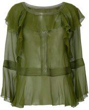 Alberta Ferretti - Blusa con balze increspate - women - Silk/Cotone/Polyamide - 40 - Verde