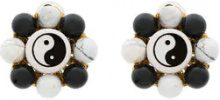 Venessa Arizaga - Orecchini 'Flower Ying Yang' - women - Gold Plated Brass - OS - Nero