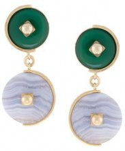 Crystalline - Orecchini 'Lace Agate' - women - 24kt Gold Plated Metal - OS - Verde