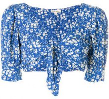 For Love And Lemons - Top crop con stampa a fiori - women - Rayon - S, M - BLUE