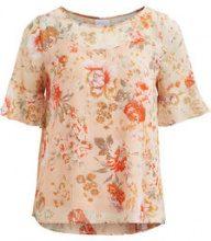VILA Flower Patterned Short Sleeved Top Women Pink