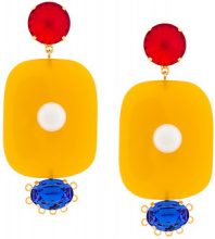 Marni - crystal pearl embellished earrings - women - Resin - OS - YELLOW & ORANGE
