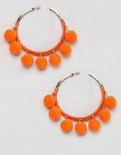 River Island - Orecchini a cerchio con pompon - Arancione