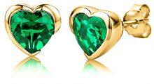 Byjoy - Orecchini a Forma di Cuore in Argento Placcato in Oro con Smeraldi