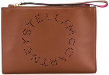 Stella McCartney - perforated logo clutch - women - Artificial Leather - One Size - BROWN