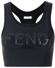 Fendi - logo sports bra top - women - Polyamide/Spandex/Elastane/Polyurethane/Polyester - 40, 42 - Nero