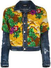 Dsquared2 - Hawaiian print denim jacket - women - Cotton/Spandex/Elastane/Viscose - 38, 40, 42, 44, 36 - BLUE