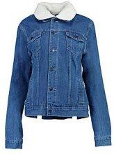Giubbotto di jeans oversize foderato in montone sintetico