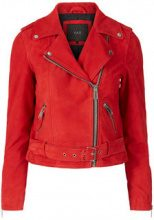 Y.A.S Biker Suede Leather Jacket Women Red