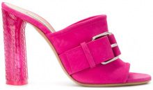 Casadei - Mules con fibbia - women - Chamois Leather/Leather - 35, 36.5, 37, 37.5, 38, 38.5, 39, 39.5, 40, 41 - PINK & PURPLE