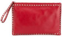 Valentino - Clutch 'Rockstud' - women - Leather/metal/Cotton - OS - RED