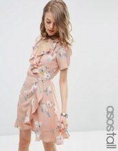 ASOS TALL - Vestito da giorno a portafoglio con stampa floreale e volant