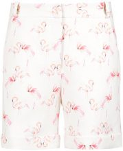 Olympiah - flamingo print tailored shorts - women - Polyester/Spandex/Elastane - 36, 38, 40 - Bianco