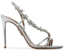 Aquazzura - Silver Chateau Embellished 110 Sandals - women - Leather - 36.5, 37.5, 38.5, 39.5, 40.5, 36, 38, 39, 41, 42, 37 - METALLIC