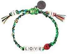 Venessa Arizaga - braccialetto 'Love Bug' - women - Cotton/Gunmetal Plated Brass/ceramic - One Size - GREEN