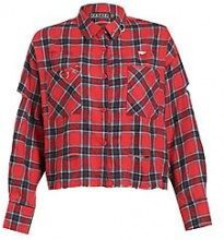 Charlie Distressed Metal Ring Check Shirt Crop