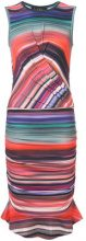 Nicole Miller - striped gathered detail dress - women - Rayon/Spandex/Elastane - XS, S, M - MULTICOLOUR